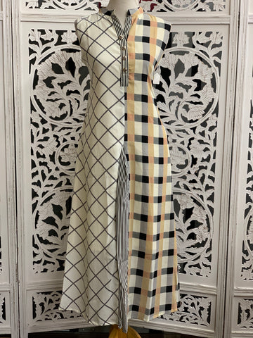 White and Grey Checks Kurti