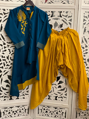 Blue and Yellow Patiala Suit