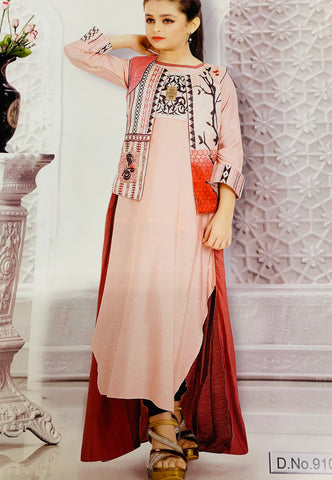 Pastel Pink Kurti Set with Jacket