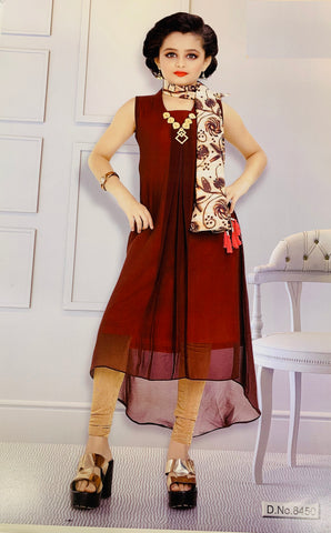 Burgundy and Pink Sleeveless Kurti Set