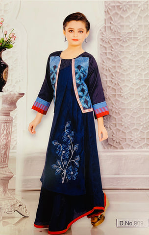 Navy Blue Kurti Set with Jacket