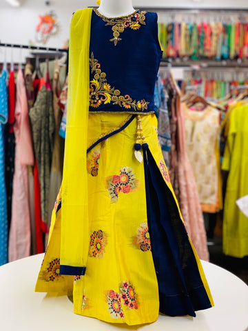 Navy Blue and Yellow Lehenga Choli
