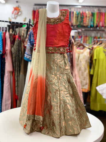 Pink and Ivory  Lehenga Choli