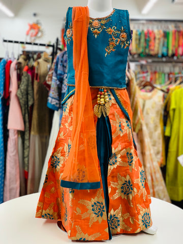 Blue and Orange Lehenga Choli
