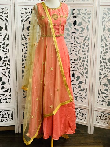 Peach and Pastel Green Anarkali Suit