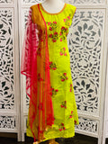 Green and Pink Anarkali Suit