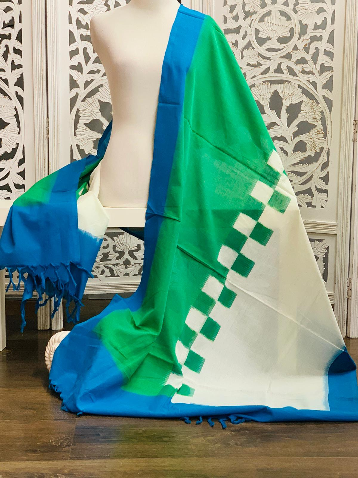 Green and White Ikkat Cotton Dupatta/Scarf