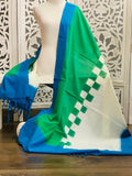 Green and White Ikkat Cotton Dupatta