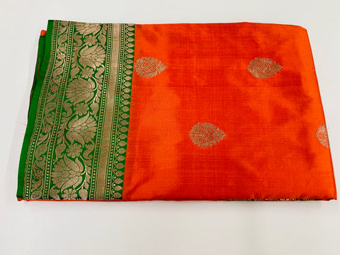 Orange and Green Pure Banaras Saree