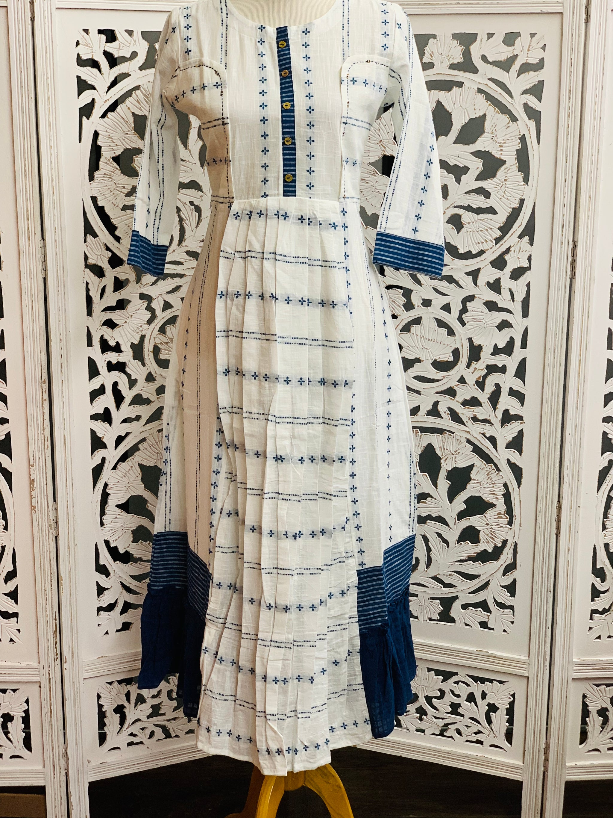 White and Blue Kurti