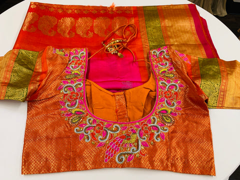 Pink and Orange Gadwal Saree