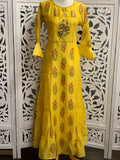 Yellow Bell Sleeves Anarkali Gown