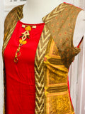 Red and Brown Jacket Style Kurti