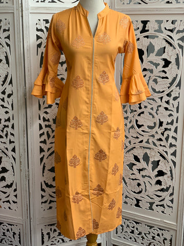 Peach Bell Sleeves Embroidered Kurti