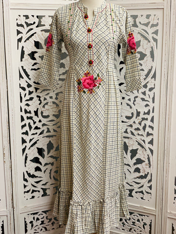 Off-White and Navy Blue Kurti