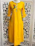 Yellow Bell Sleeves Kurti