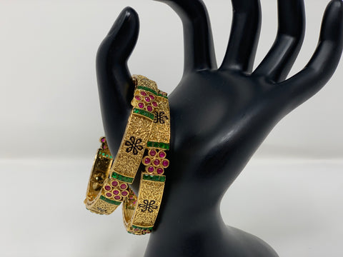 Ruby and Emerald Antique Bangles