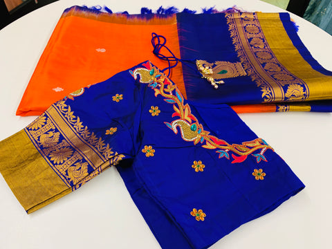 Orange Gadwal Saree