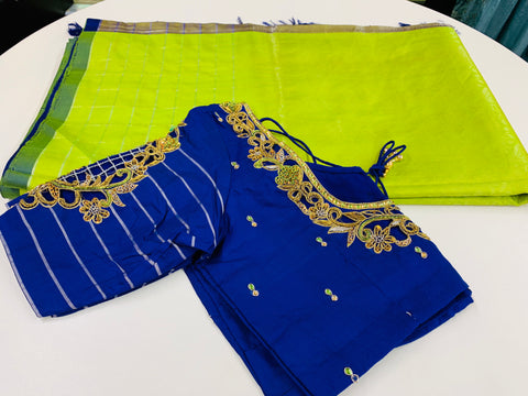 Green and Blue Pure Silk Saree