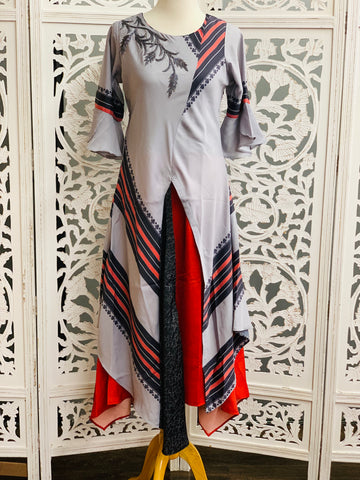 Grey and Red Kurti