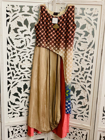 Beige and Brown Kurti