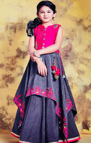 Pink and Grey Lehenga Choli