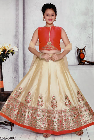 Pink and Cream Lehenga Choli