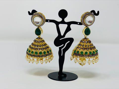 Green and White Stones Jhumkas with Kundan