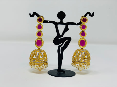 Pink and White CZ Stones Jhumkas