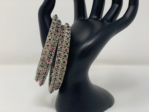 Pink and Green CZ Stones Oxidized Bangles