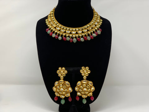 Kundan Set with Pink and Green Beads
