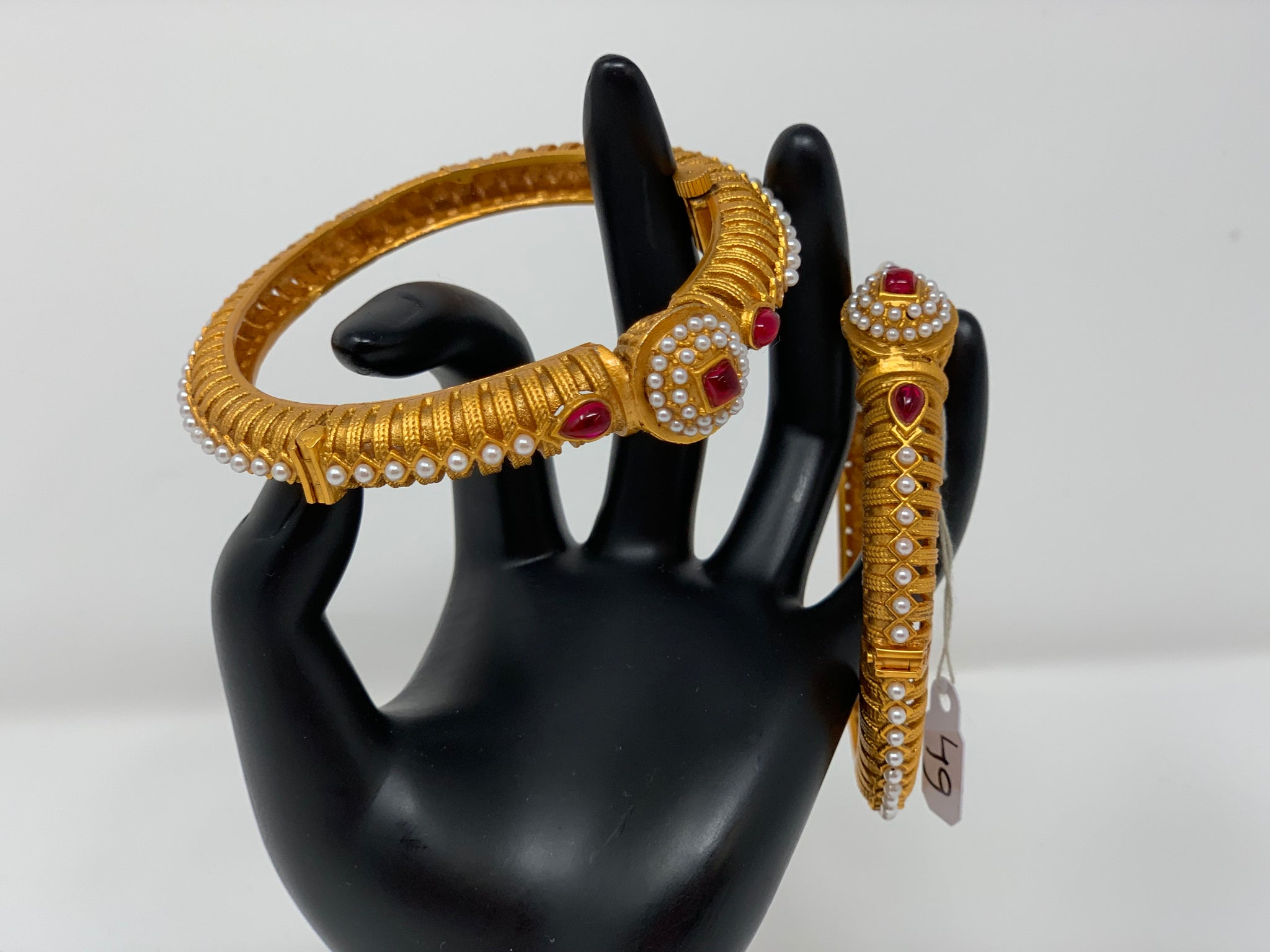 Kada with Ruby Stones and Pearls - Sakkhi Style
