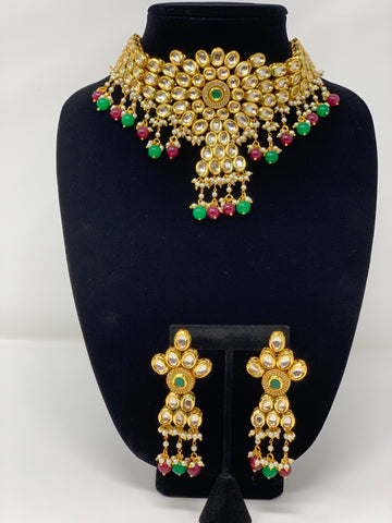 Kundan Necklace Set with Beads Drops
