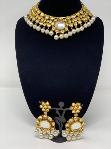 Kundan Necklace Set with Pearl Drops