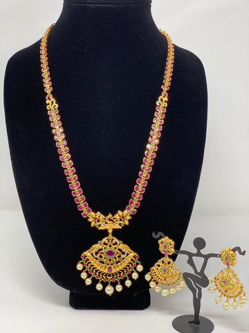 Semi Rubies and Emeralds Necklace Set
