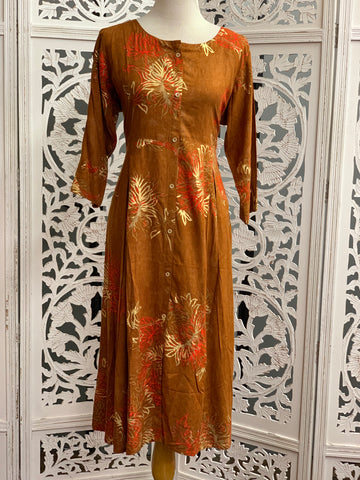 Brown and Orange Kurti