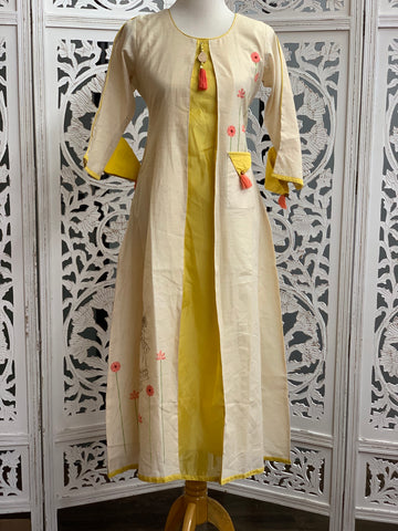 Cream and Yellow Kurti