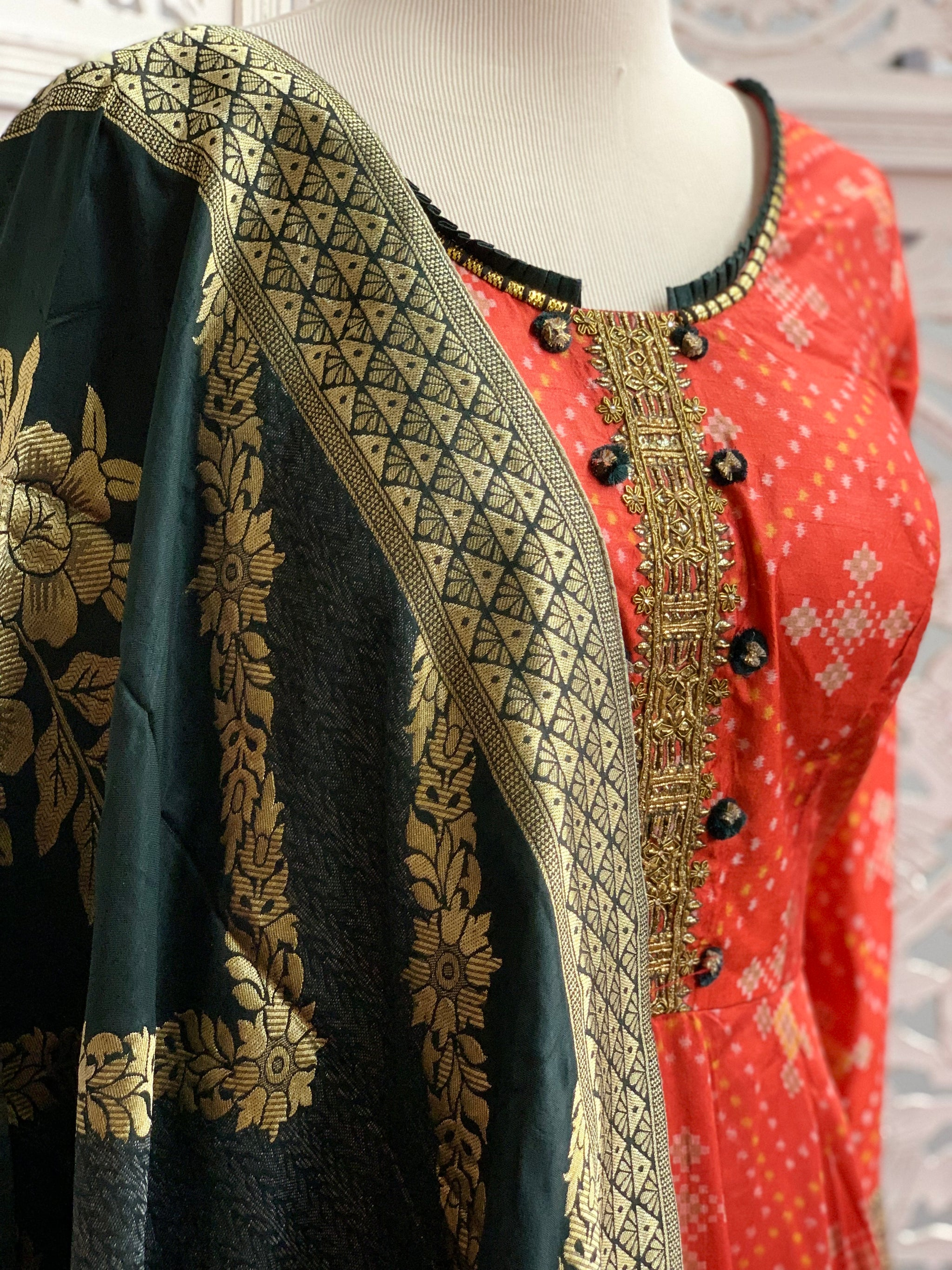 Red and Bottle Green Anarkali Suit