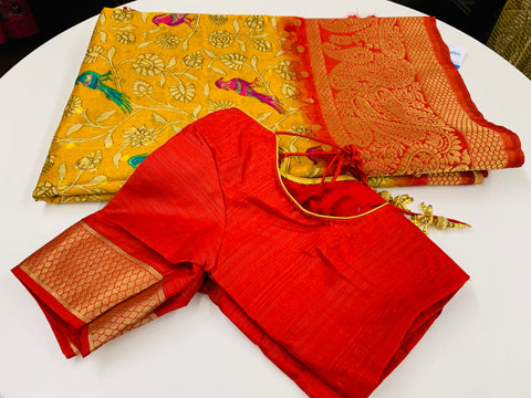 Yellow and Red Dupion Silk Saree