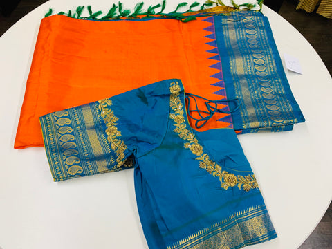 Orange and Blue Gadwal Saree