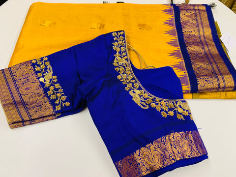 Yellow and Blue Gadwal Saree