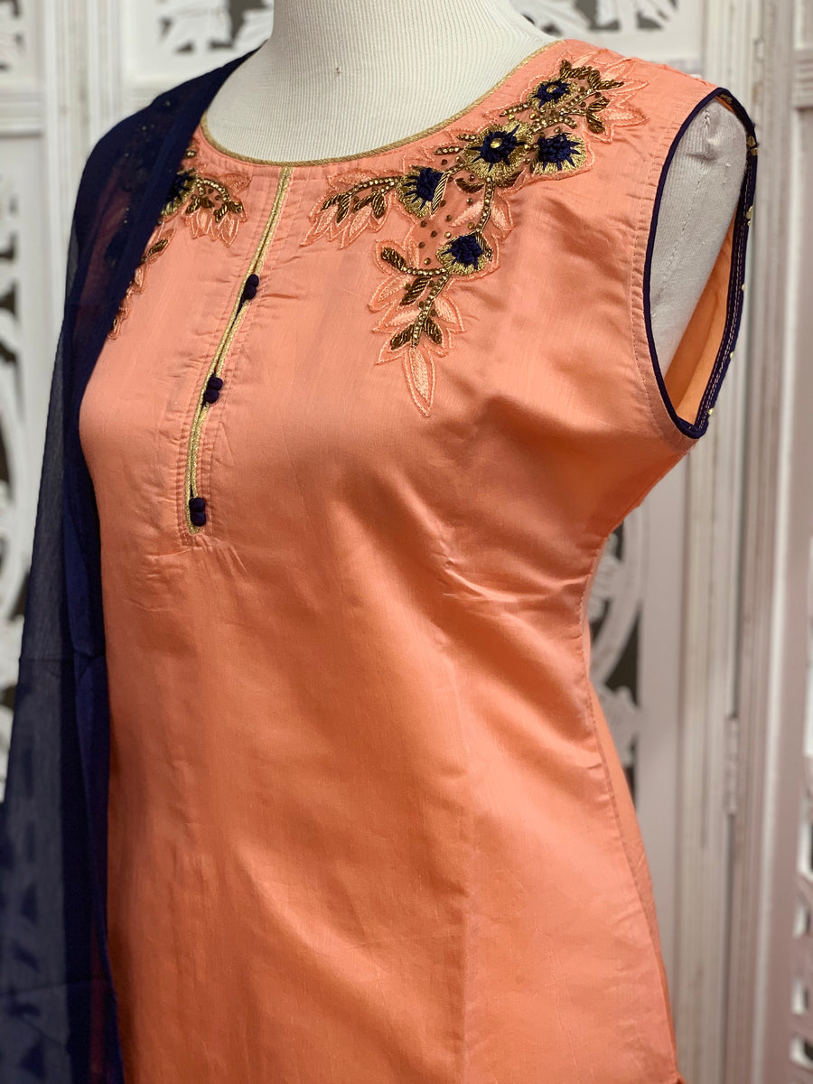 Peach and Navy Blue Palazzo Suit
