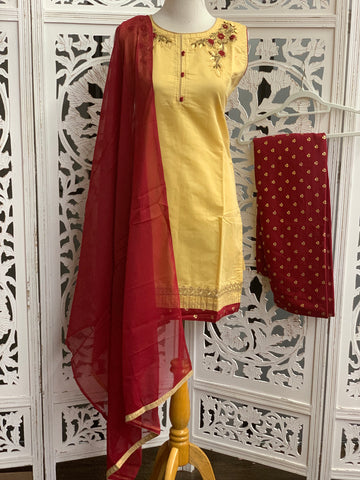 Yellow and Maroon Palazzo Suit