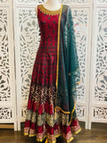 Maroon and Green Anarkali Suit