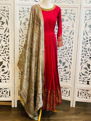 Maroon and Grey Anarkali Suit