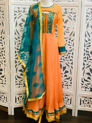Peach and Blue Anarkali Suit