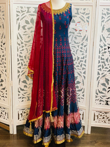 Navy Blue and Maroon Anarkali Suit
