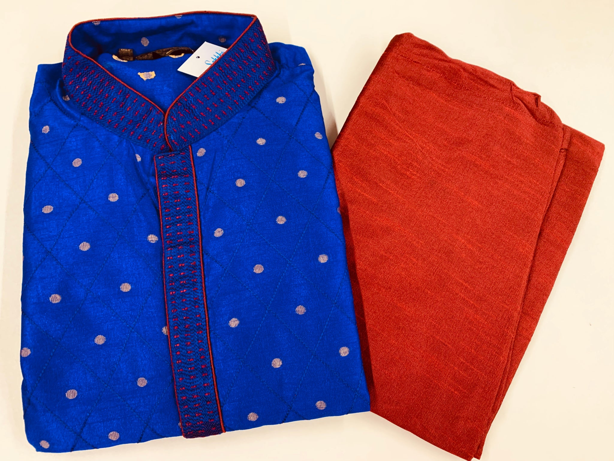 Deep Blue and Maroon Kurta Pyjama