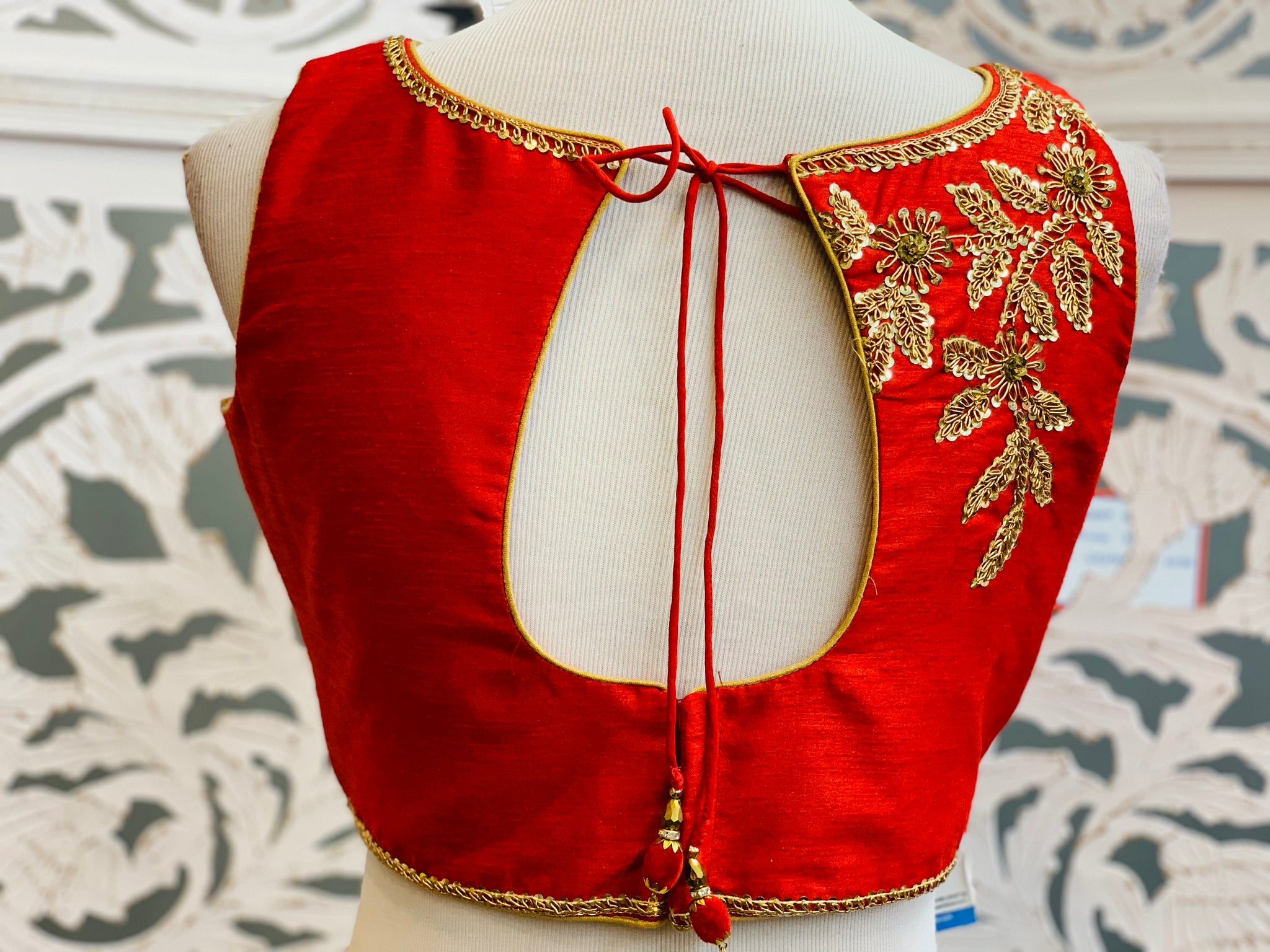 Red Embroidered Blouse - Sakkhi Style