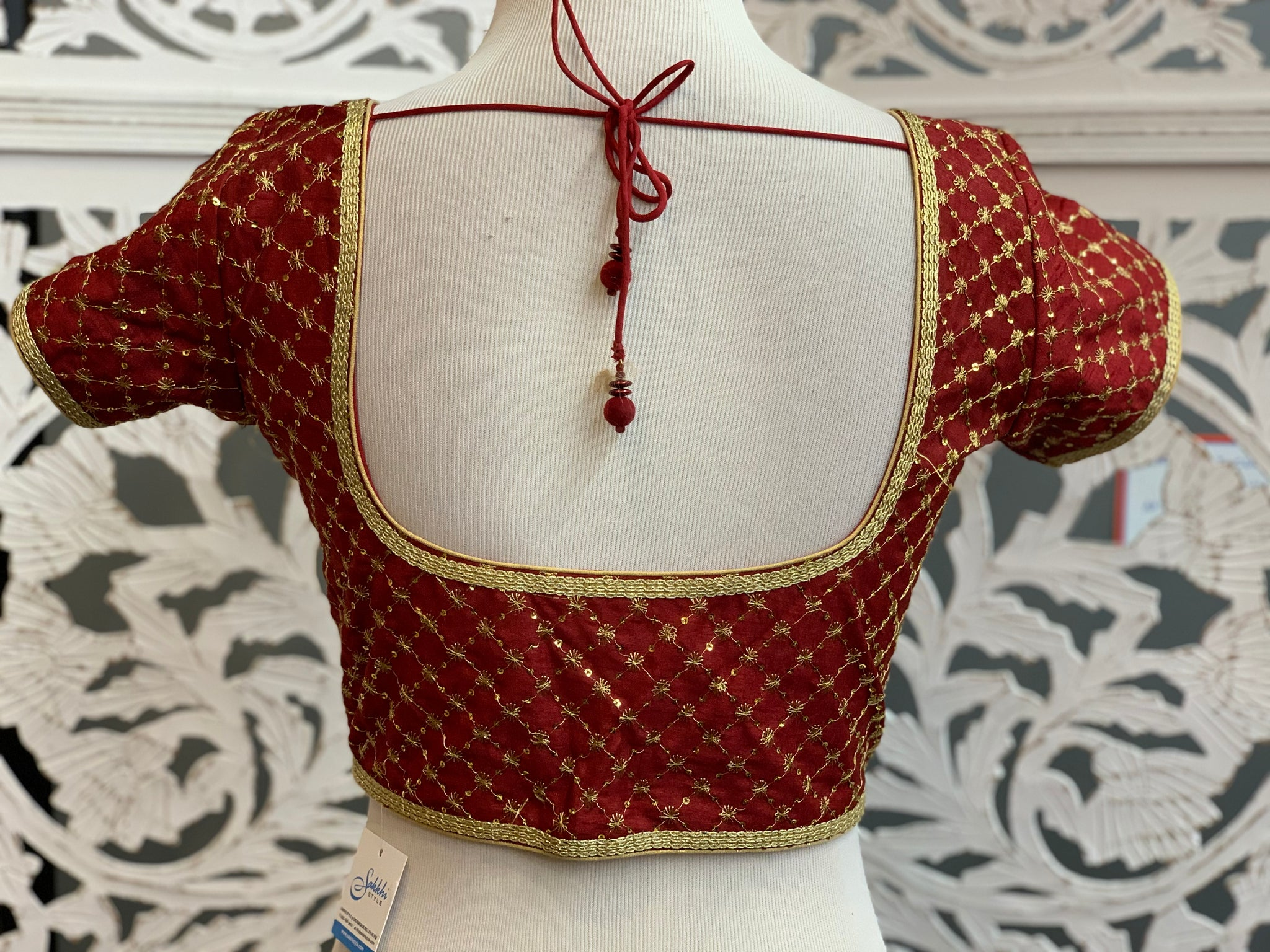 Maroon Embroidered Blouse - Sakkhi Style